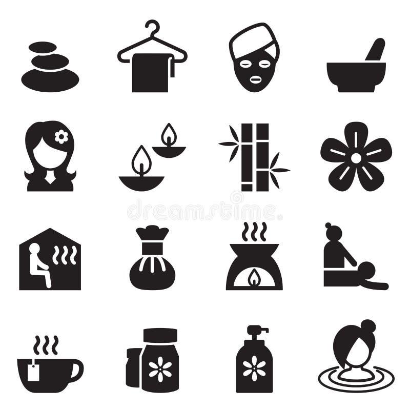 Os termas, beleza, ícones saudáveis da massagem ajustaram a ilustração de 2 vetores ilustração stock
