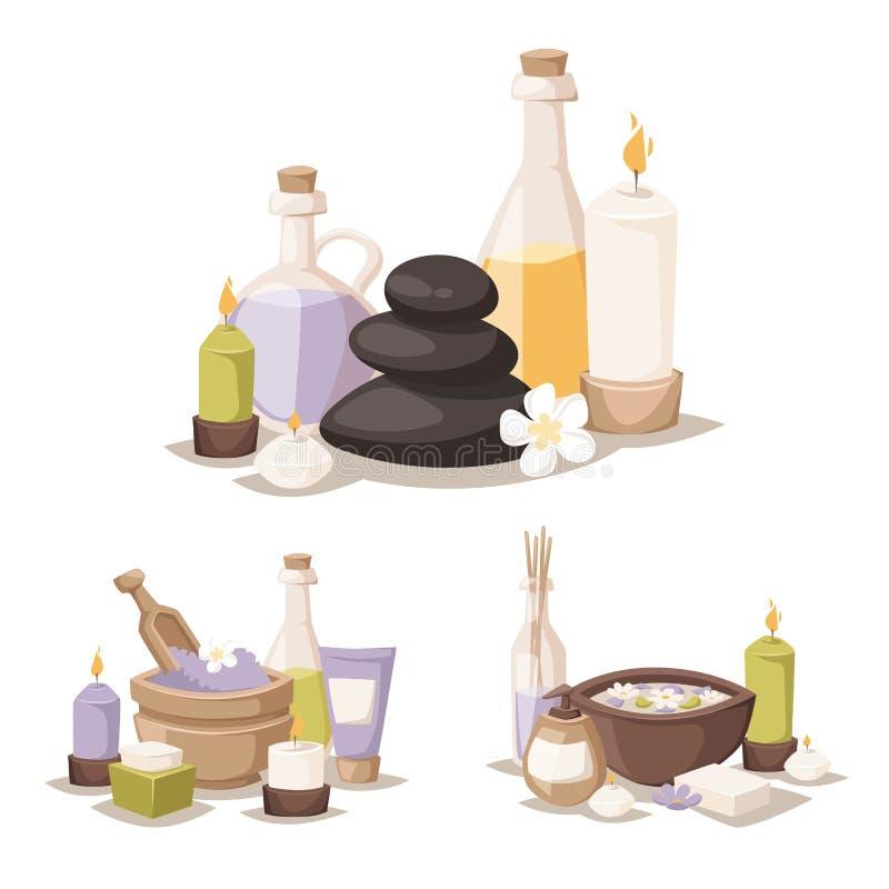 Os termas ervais do aroma dos cosméticos da termas-massagem do bem-estar dos procedimentos da beleza do tratamento dos ícones do  ilustração stock