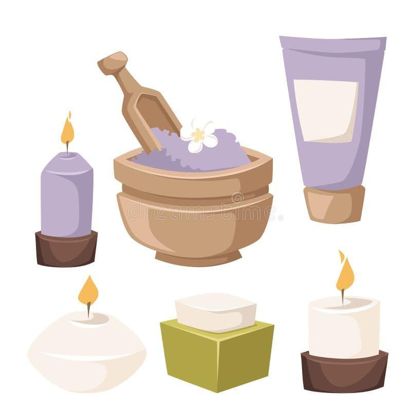 Os termas ervais do aroma dos cosméticos da termas-massagem do bem-estar dos procedimentos da beleza do tratamento dos ícones do  ilustração royalty free