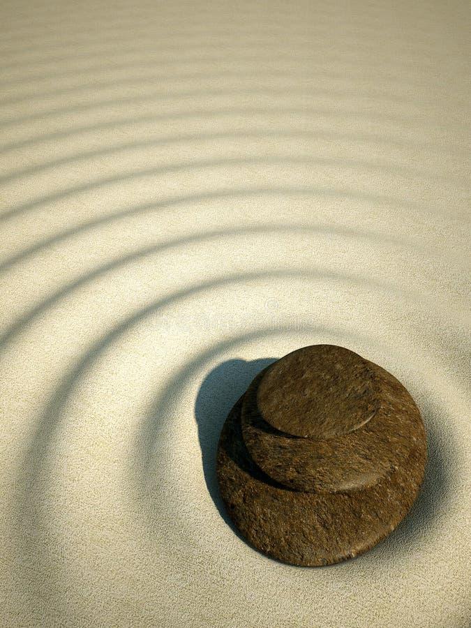 Os termas relaxam o vulcão de pedra da areia do zen ilustração do vetor