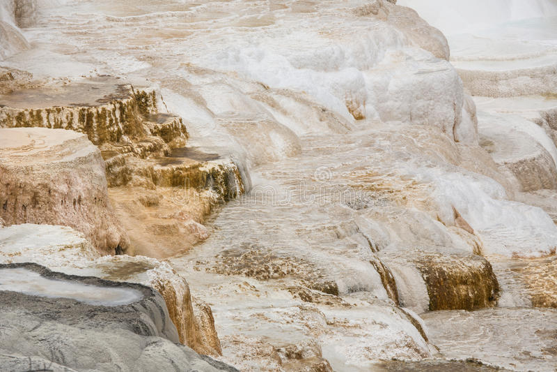Os terraços do carbonato balançam em Mammoth Hot Springs, Yellowstone N imagem de stock