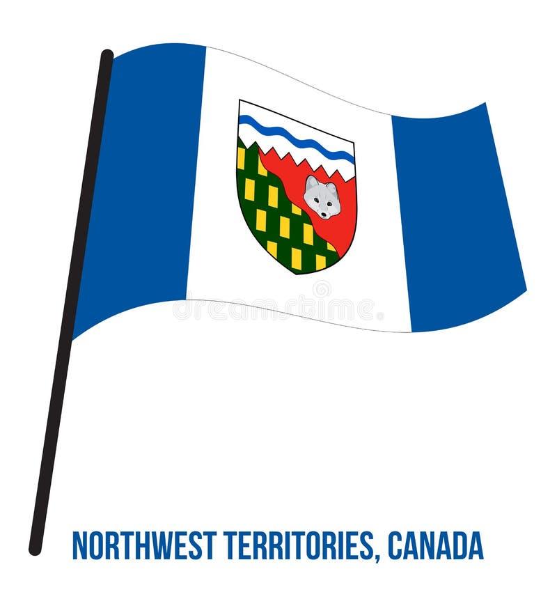 Os territórios do noroeste embandeiram a ilustração do vetor de ondulação no fundo branco Bandeira do território de Canadá ilustração do vetor