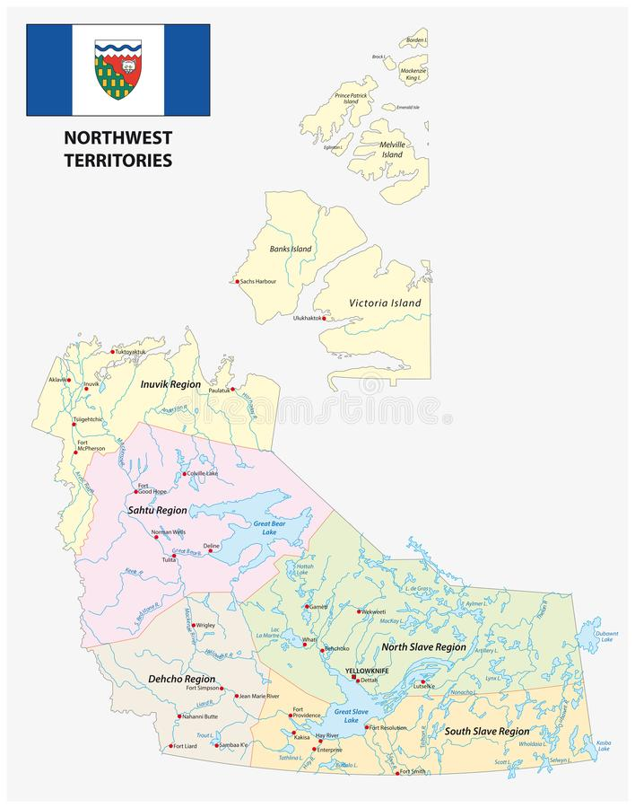 Os territórios do noroeste políticos e as regiões administrativas traçam com bandeira Canadá ilustração royalty free
