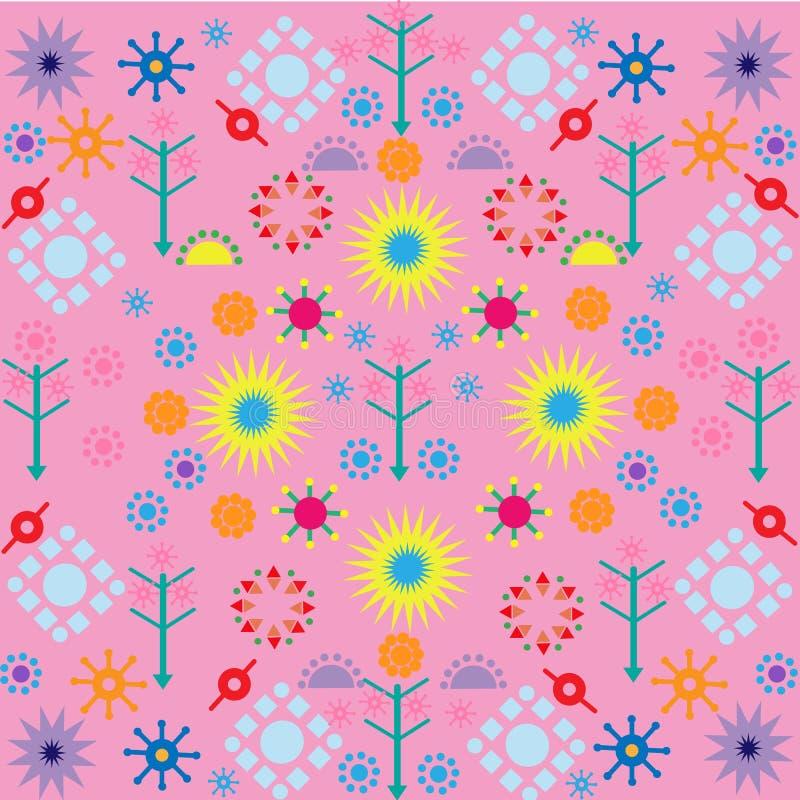 Os testes padrões de flores das árvores coloriram o ornamento dos símbolos no fundo cor-de-rosa ilustração royalty free