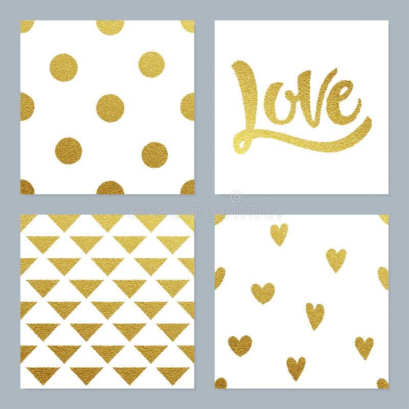 Os testes padrões do brilho do ouro ajustaram-se com vários fundo e escrita ilustração royalty free