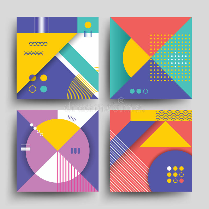 Os testes padrões retros com vetor geométrico simples abstrato das formas projetam para as tampas, os cartazes, os cartazes, os i ilustração do vetor