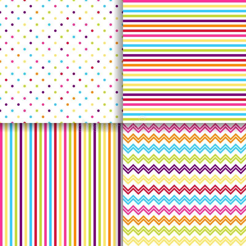 Os testes padrões sem emenda pontilhados e listrados coloridos vector fundos ilustração royalty free