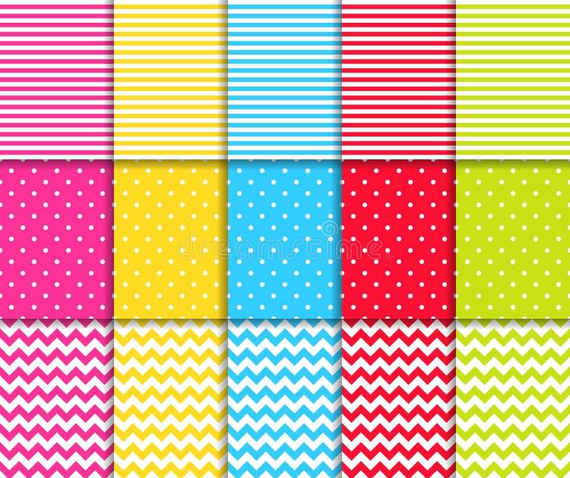 Os testes padrões sem emenda pontilhados e listrados coloridos vector fundos ilustração do vetor