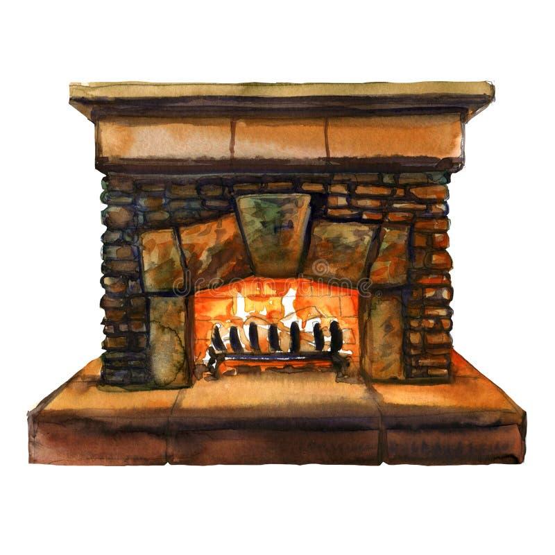 Os tijolos de pedra dirigem a chaminé da família com chama, lareira com fogo ardente, ilustração da aquarela ilustração do vetor