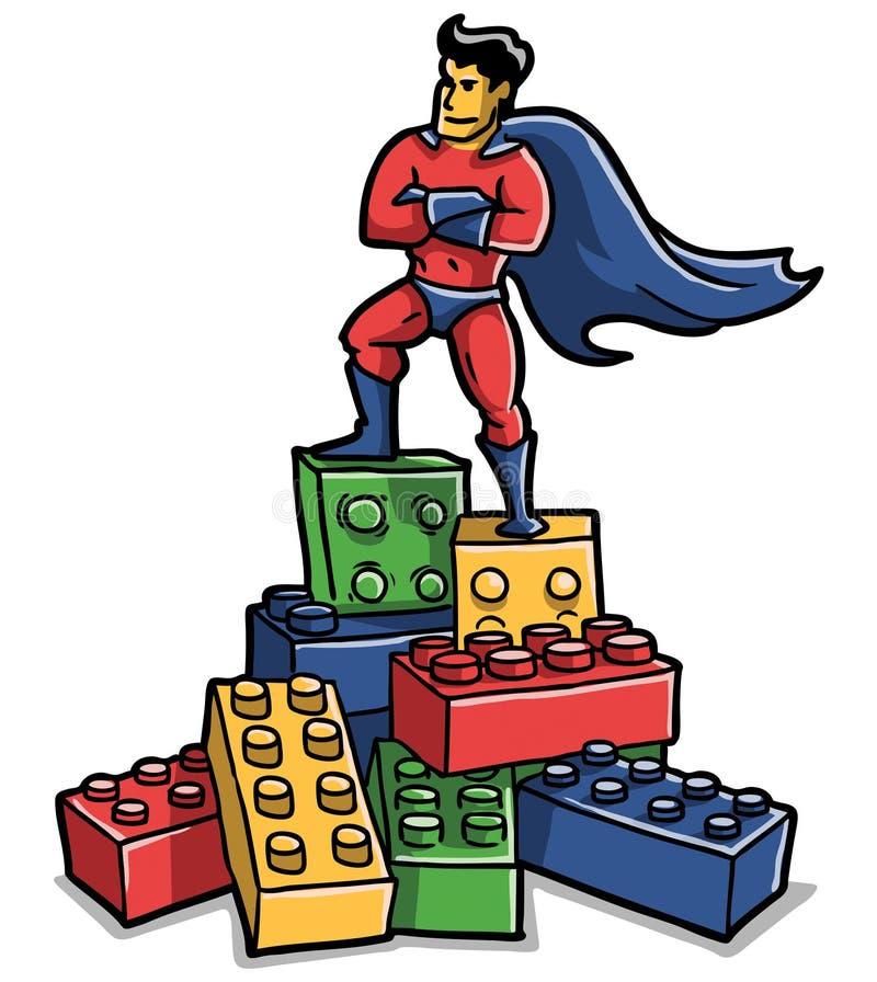 Os tijolos do super-herói do brinquedo danificaram imagem de stock