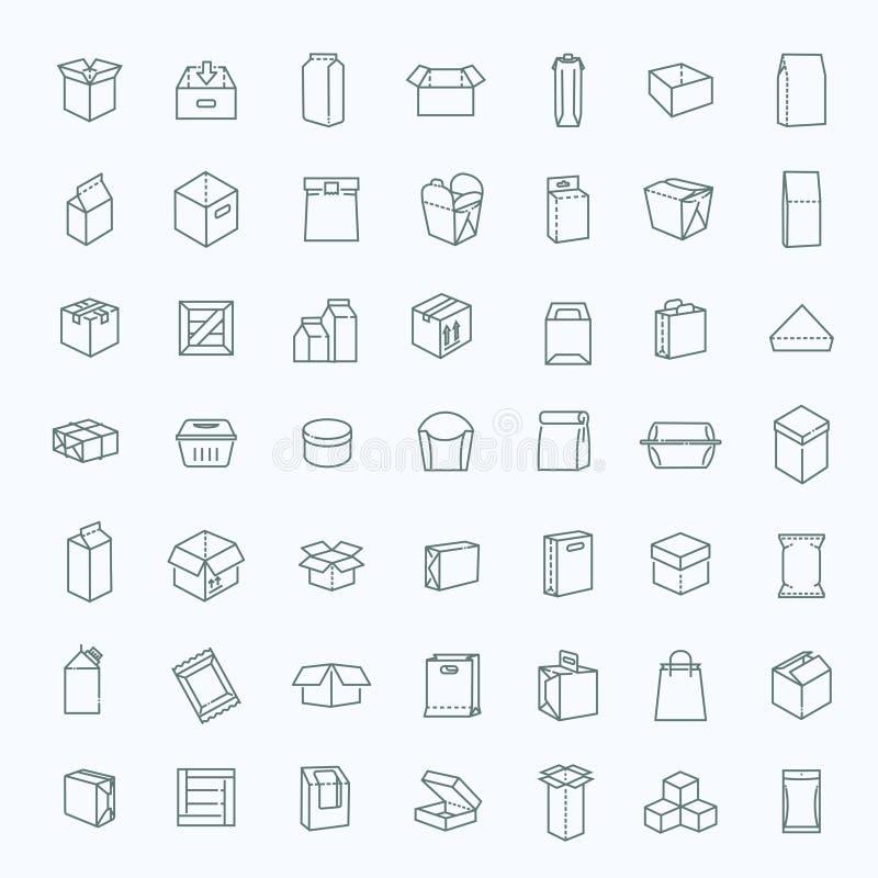 Os tipos ícone do pacote do vetor ajustaram-se na linha estilo fina ilustração stock
