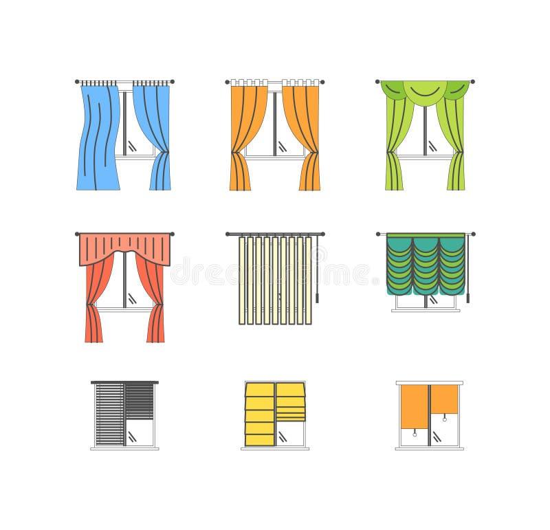 Os tipos coloridos das cortinas diluem a linha grupo Vetor ilustração do vetor