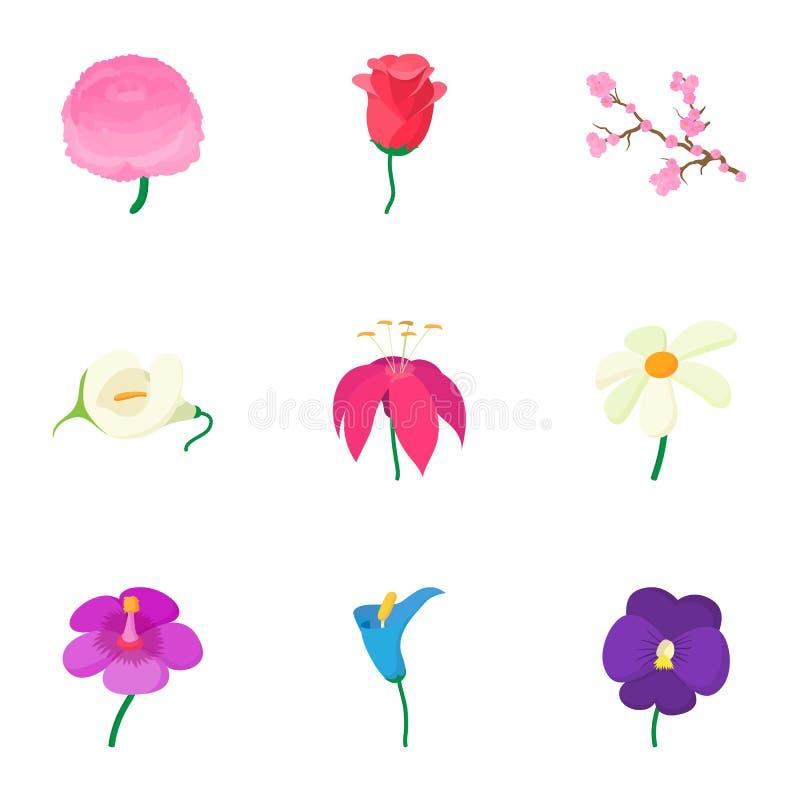 Os tipos de ícones das flores ajustaram-se, estilo dos desenhos animados ilustração royalty free