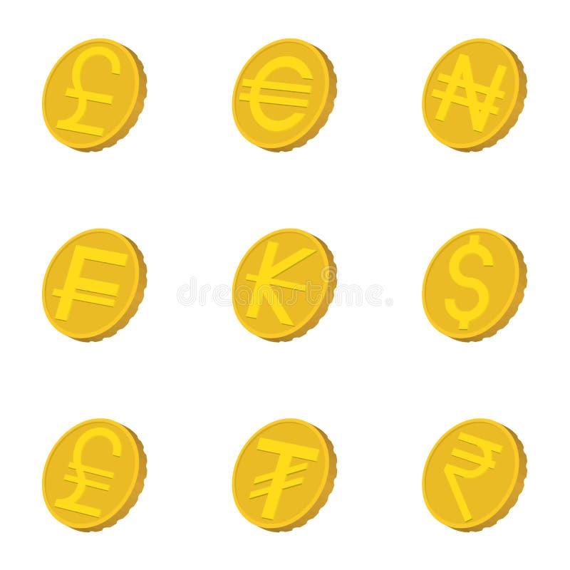 Os tipos de ícones do dinheiro ajustaram-se, estilo dos desenhos animados ilustração royalty free