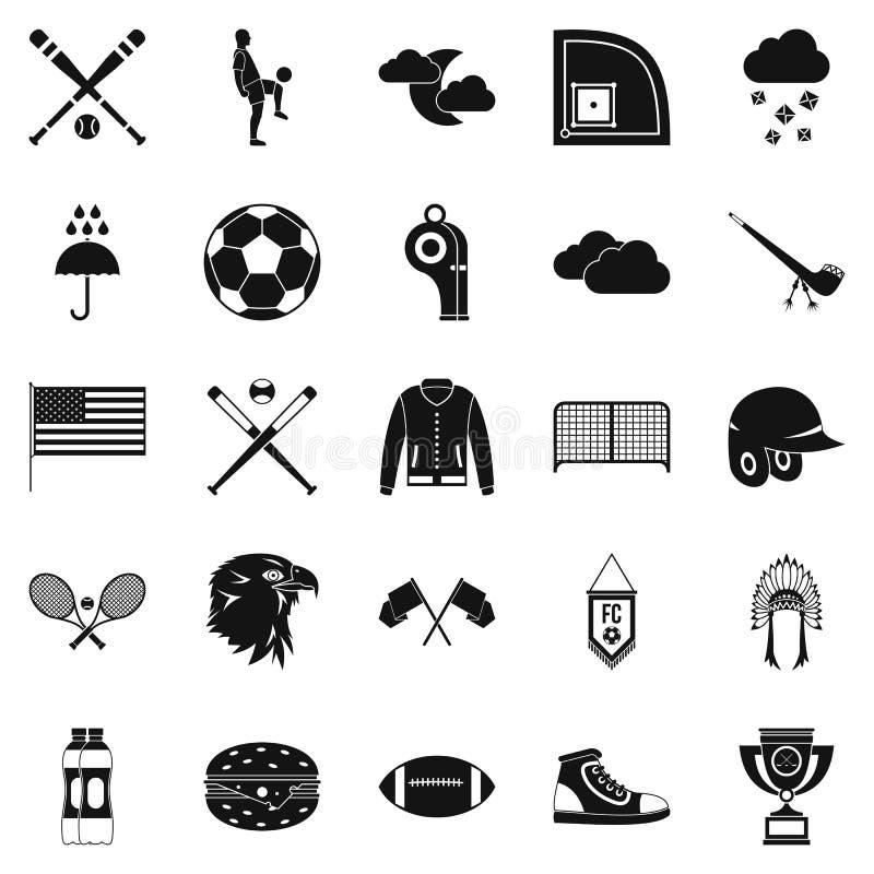 Os tipos de ícones dos esportes ajustaram-se, estilo simples ilustração do vetor