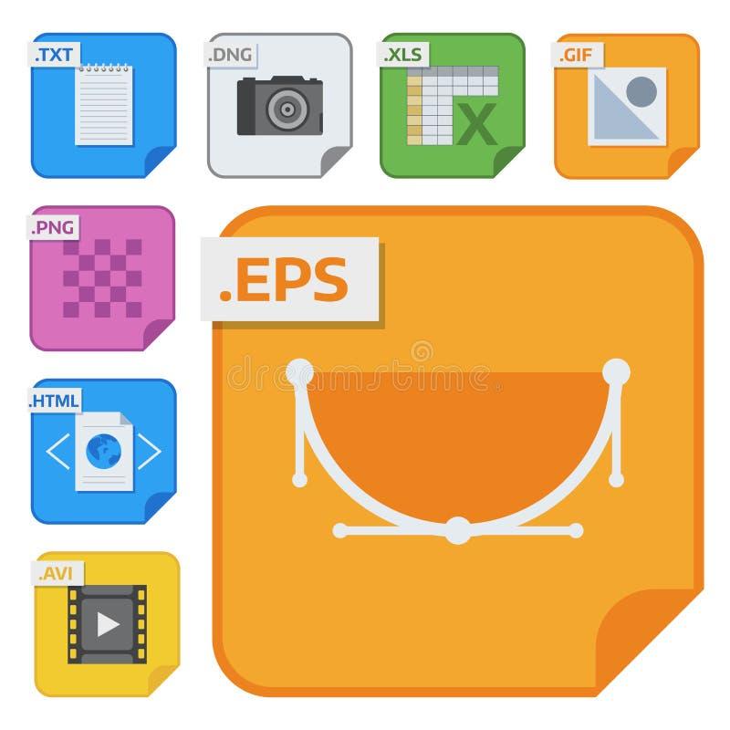 Os tipos de arquivo vector ícones e os formatos etiquetam o dobrador do software de aplicação do símbolo do original da apresenta ilustração stock