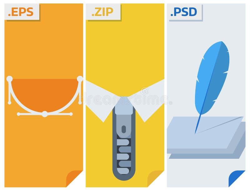 Os tipos de arquivo vector ícones e os formatos etiquetam o dobrador do software de aplicação do símbolo do original da apresenta ilustração royalty free