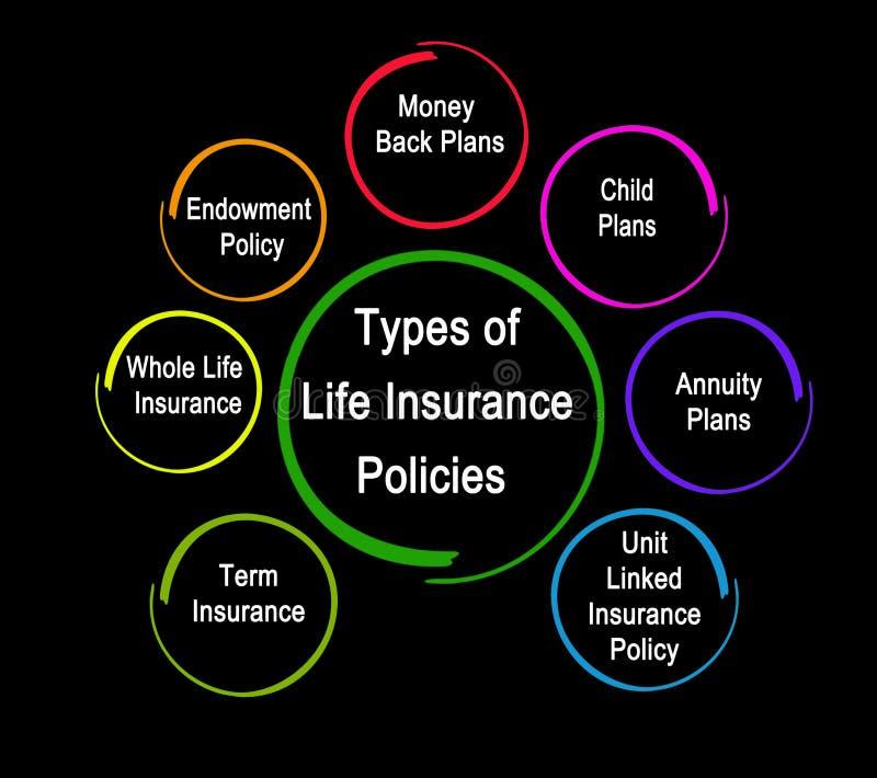 Os tipos de seguro de vida policiam ilustração stock