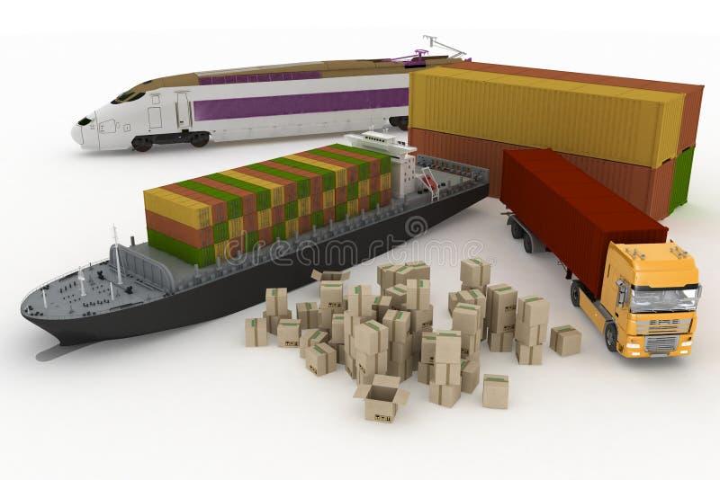 Os tipos de transporte do transporte são cargas ilustração royalty free