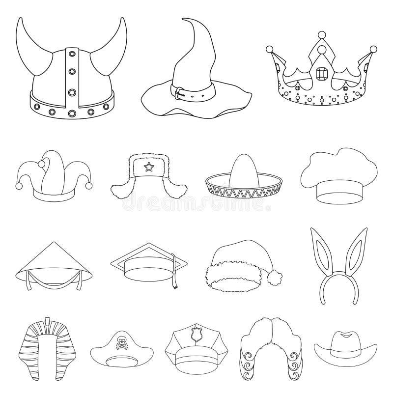 Os tipos diferentes dos chapéus esboçam ícones na coleção do grupo para o projeto Ilustração da Web do estoque do símbolo do veto ilustração stock