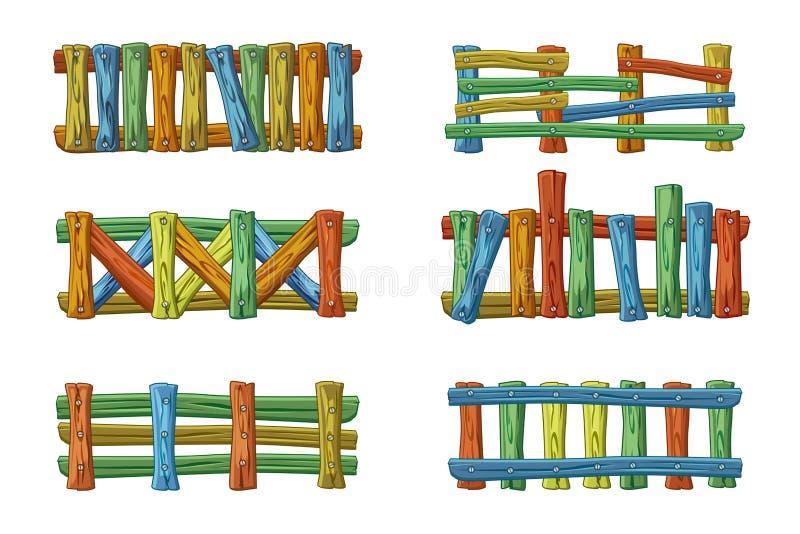 Os tipos e as cores diferentes da cerca de madeira, desenhos animados ajustaram-se para o ativo ilustração do vetor