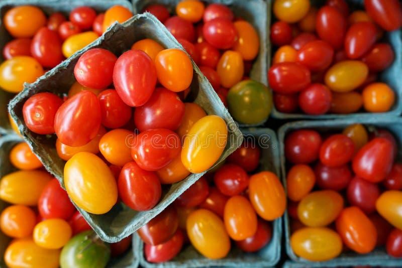 Os tomates da ameixa do bebê em um coração deram forma à bacia imagem de stock