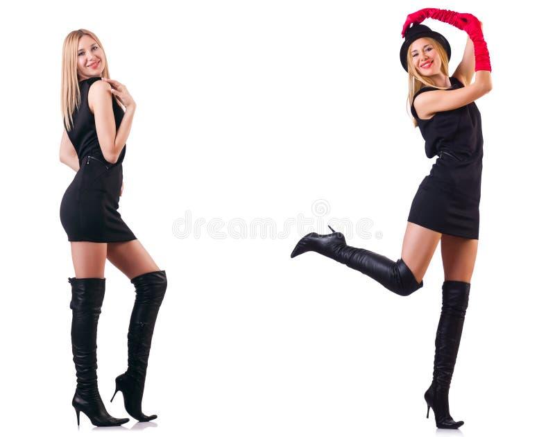 Os topboots vestindo da mulher bonita imagem de stock
