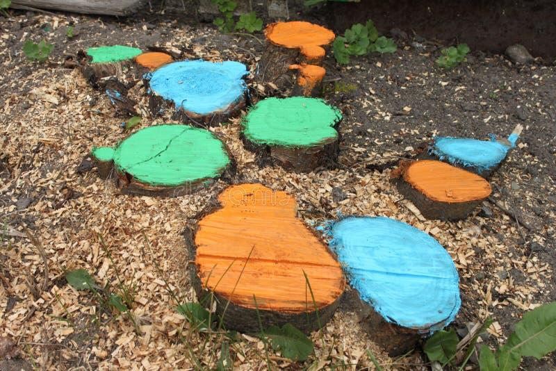 Os topos coloridos com grama e os sawdusts em uma terra em uma dacha jardinam imagem de stock