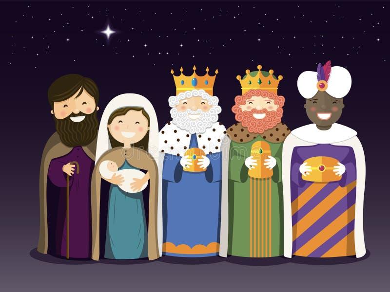 Os três reis e a família santamente no dia do esmagamento ilustração do vetor