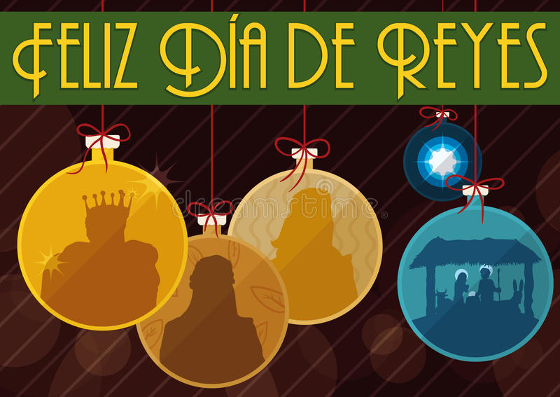 Os três três Reis Magos tradicionais e a cena da natividade gostam da bola do ` s da árvore de Natal, ilustração do vetor ilustração do vetor