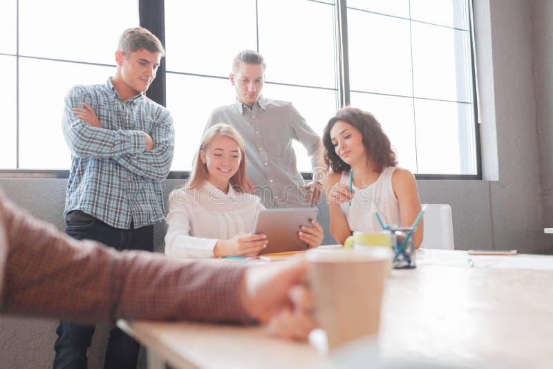 Os trabalhadores de escritório discutem um desenvolvimento mais adicional da empresa fotos de stock royalty free