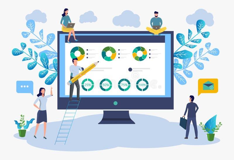 Os trabalhadores de escritório estudam o infographics, análise da escala do crescimento do negócio Ilustra??o do vetor do neg?cio ilustração do vetor