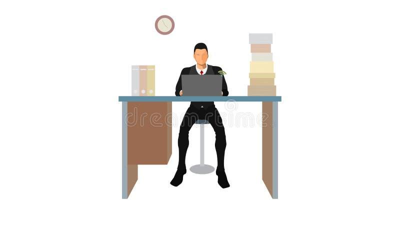 Os trabalhadores de escritório levam a cabo os fins do prazo que acumularam ilustração stock