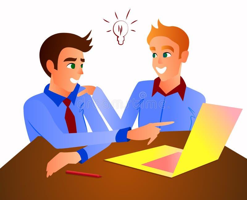 Os trabalhadores de escritório na tabela discutem processos de negócios foto de stock