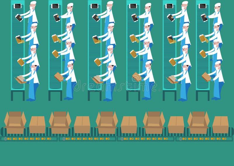 Os trabalhadores de planta do conjunto montam um tablet pc em uma maneira rotineira Clipart editável ilustração royalty free
