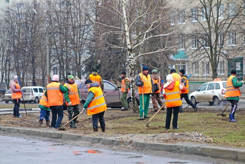 Os trabalhadores limpam o gramado imagem de stock