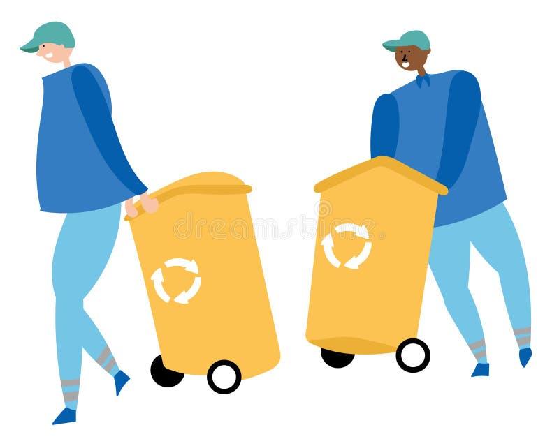 Os trabalhadores recolhem o lixo e levam recipientes para reciclar Desperdice a redução ilustração do vetor