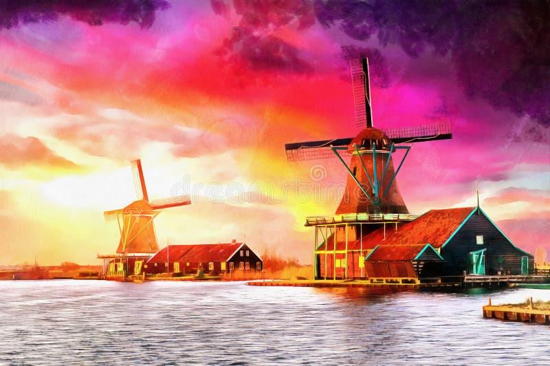 Os trabalhos ao estilo da pintura da aquarela Dutch tradicional ilustração do vetor