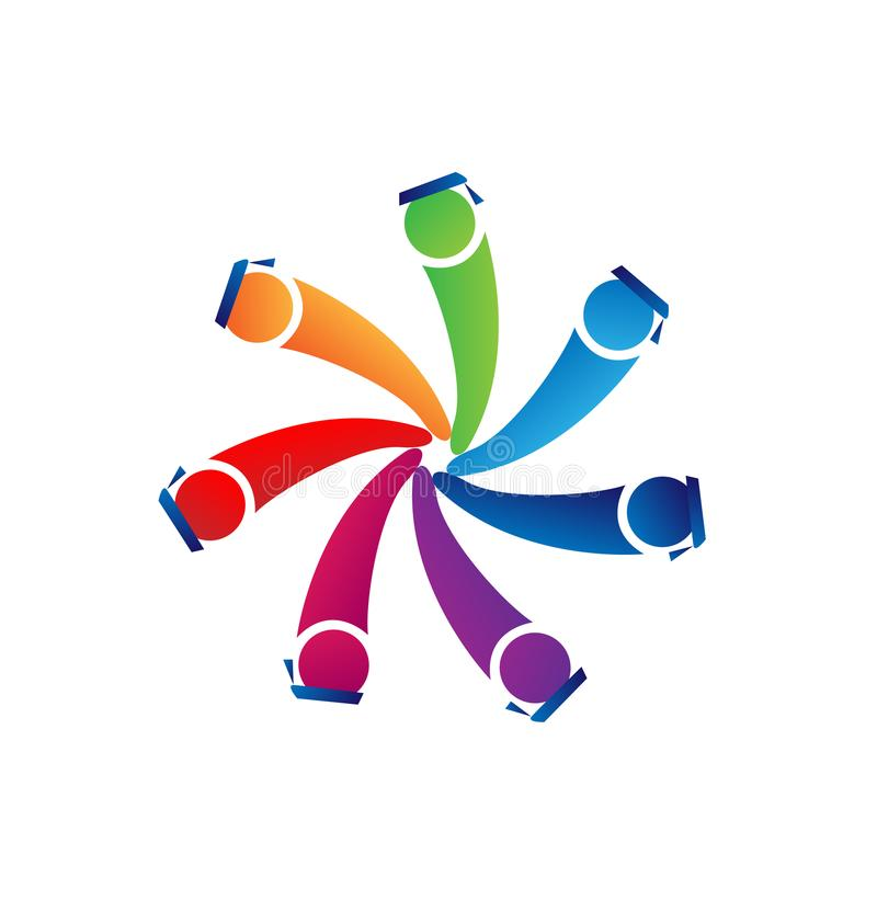 Os trabalhos de equipa graduam-se com vetor do logotipo dos alunos do tampão ilustração royalty free