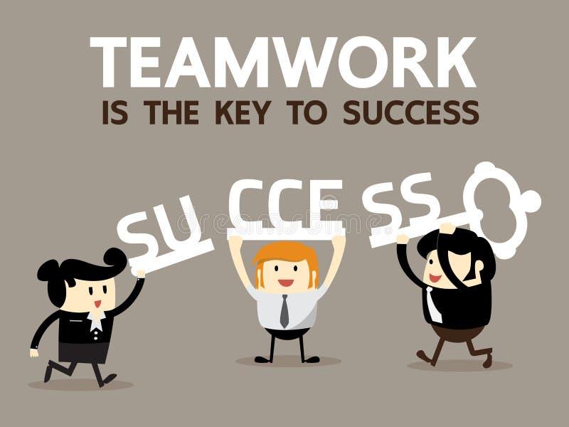 Os trabalhos de equipa são a chave ao sucesso ilustração royalty free