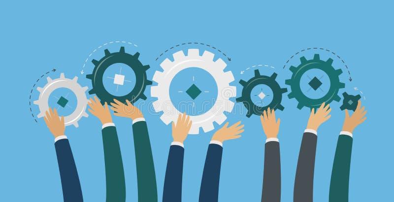 Os trabalhos de equipe, mãos guardam as engrenagens Ideia, clique, conceito do negócio Ilustração do vetor da cooperação ilustração stock