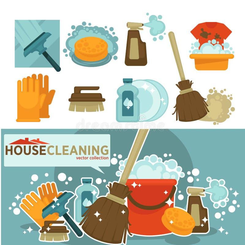 Os trabalhos domésticos utilizam ferramentas os ícones do vetor da lavagem home, esfregando e limpando ilustração stock