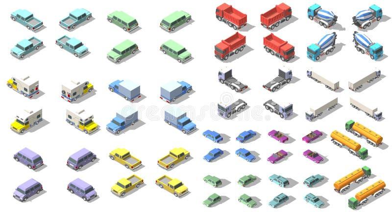 Os transportes ajustaram o projeto isométrico da ilustração do gráfico de vetor do ícone Elementos de Infographic ilustração do vetor