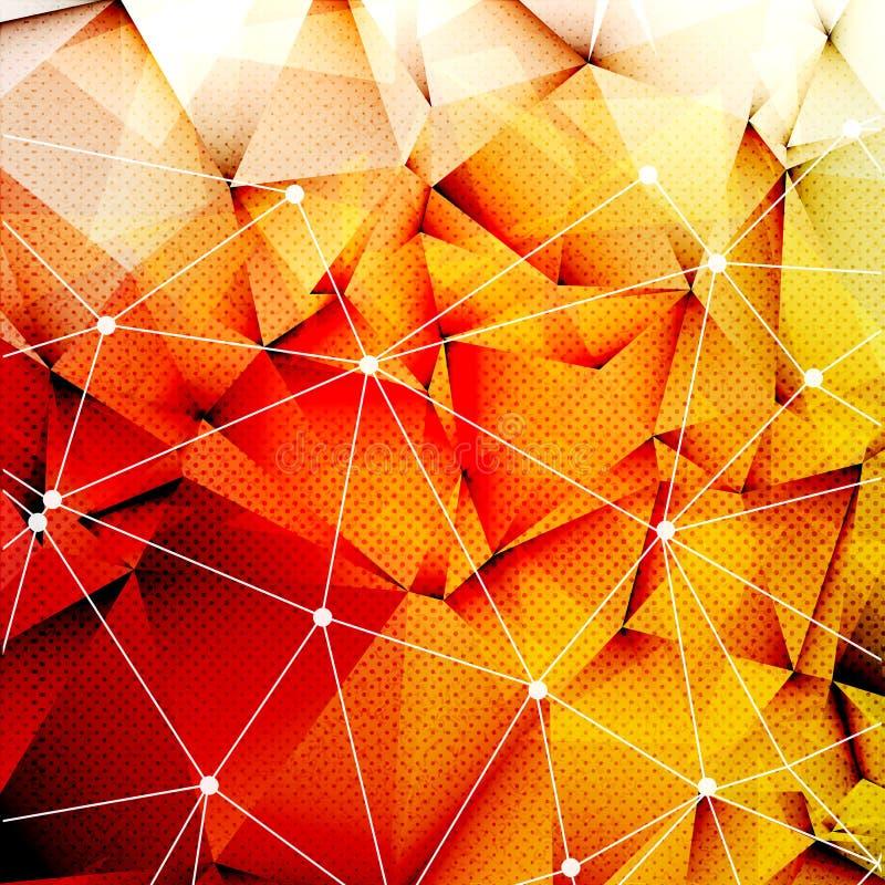 Os triângulos alaranjados vermelhos poligonais Techno Textured o fundo com conexão das linhas e dos pontos, ilustração do vetor ilustração do vetor