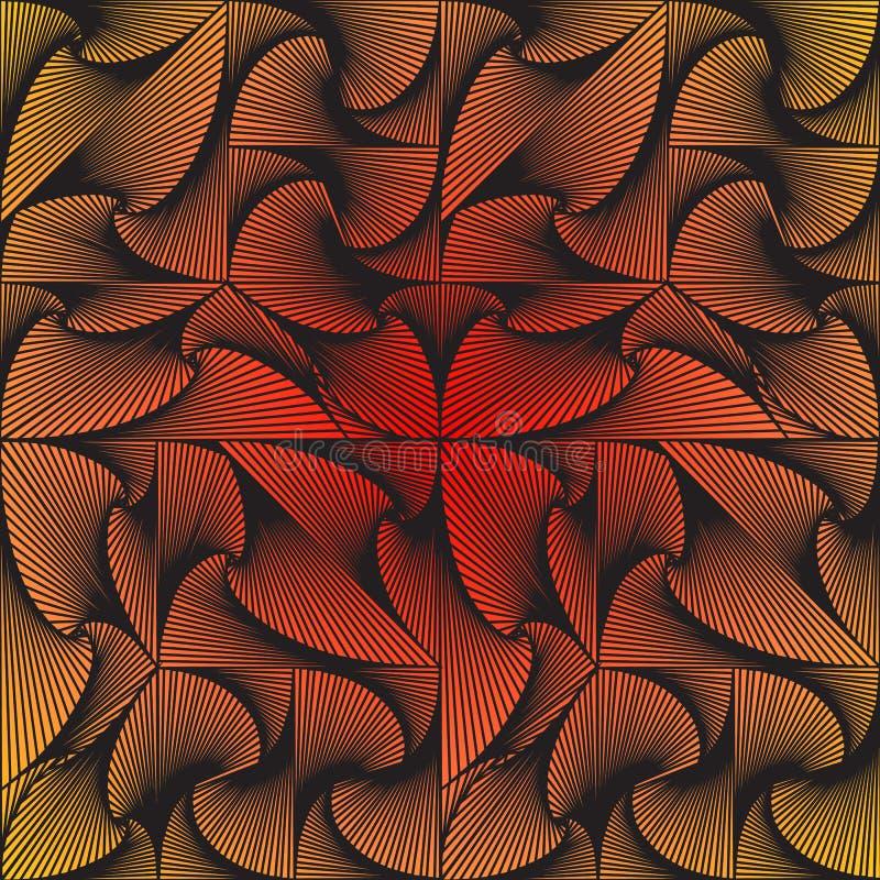 Os triângulos espirais, quadrados, cubos são compostos em um teste padrão, fundo, textura ilustração royalty free