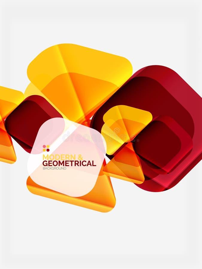 Os triângulos geométricos coloridos modernos com efeito lustroso brilhante com amostra text ilustração royalty free