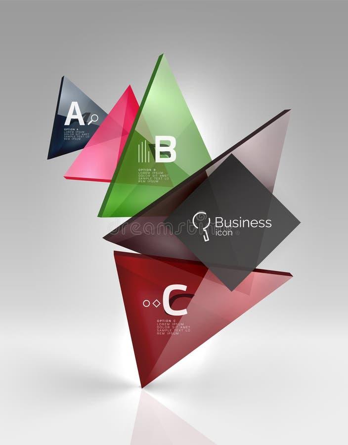 Os triângulos translúcidos de vidro lustrosos em 3d esvaziam o espaço ilustração do vetor