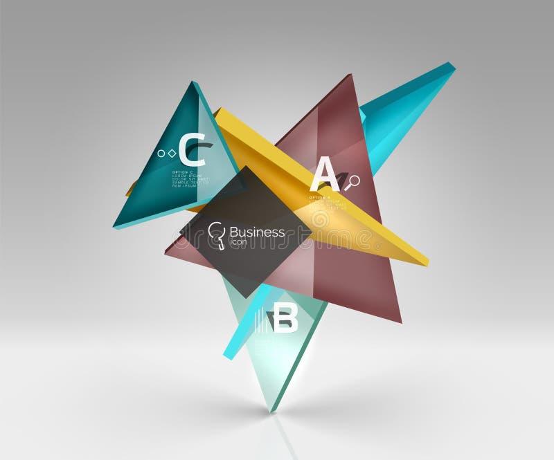 Os triângulos translúcidos de vidro lustrosos em 3d esvaziam o espaço ilustração stock