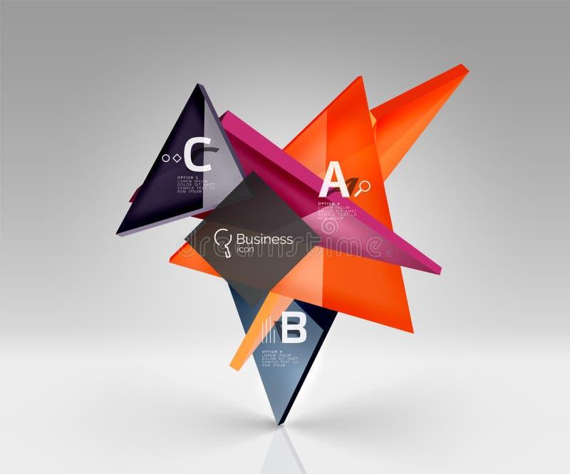 Os triângulos translúcidos de vidro lustrosos em 3d esvaziam o espaço ilustração royalty free