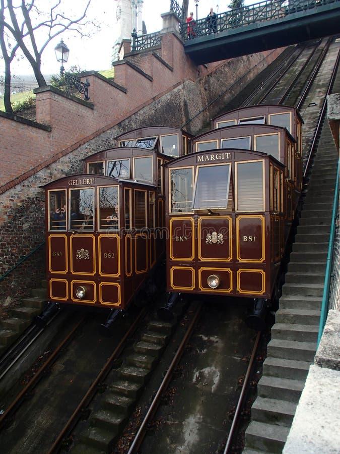Os troles do teleférico do monte do castelo de Budapest levantam o hilll imagem de stock royalty free